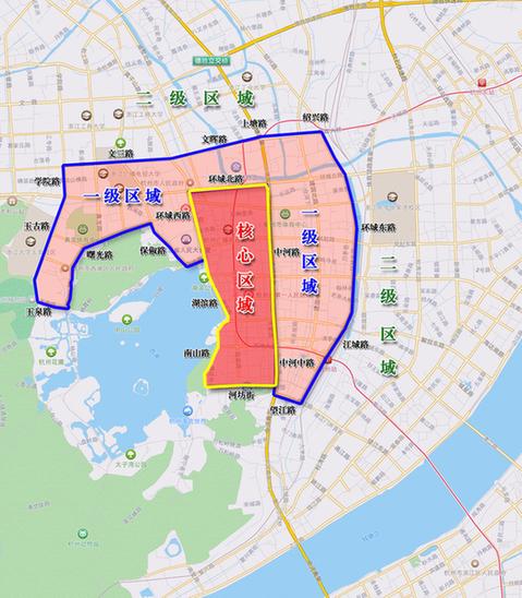 附件一:杭州市区停车收费区域划分图
