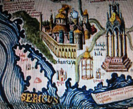 毛罗地图(1459)上的chansay,据学者称,这当是西方地图上最早的杭州城